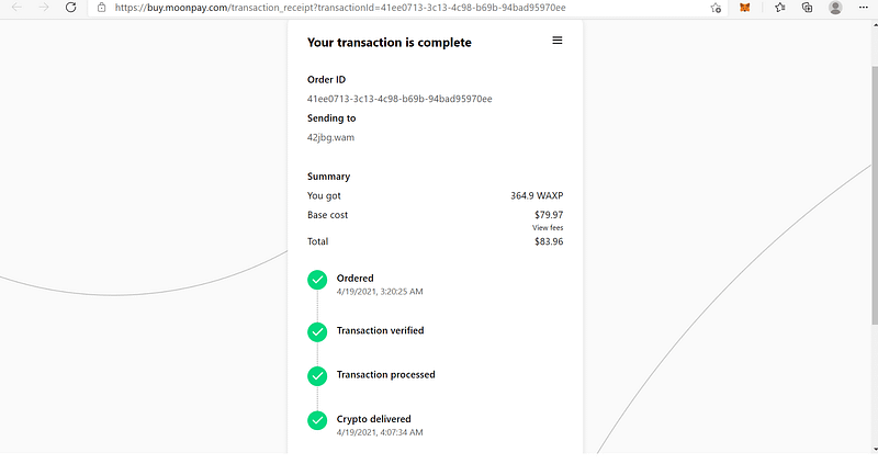 crypto delivered via moon pay