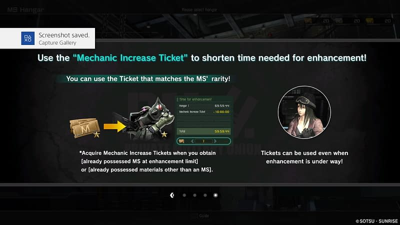 Mechanic Increase Tickets available in Gundam battle Operation 2